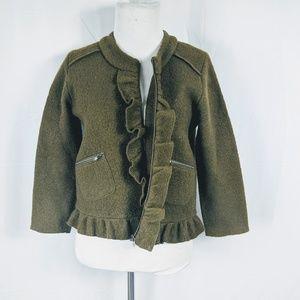 Ann Taylor Loft Petite Wool Olive Green Jacket
